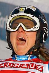 Anja Pärson jublar över VM-guldet i Super-G. Sergej Ponomarev/Scanpix